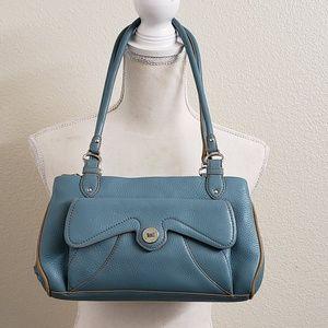 Cole Haan Blue Pebbled Leather Handbag/Shoulderbag